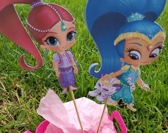 Shimmer and Shine, shimmer and shine birthday, shimmer and shine party, shimmer and shine centerpieces, shimmer and shine decorations.
