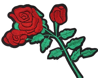 Red Roses Embroidered Flowers Patches Appliques 1 PCS
