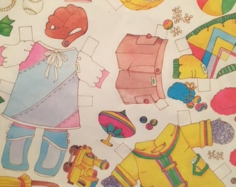 Paper Doll Clothes Gift Wrap, Wrapping Paper, Cut Out Clothes