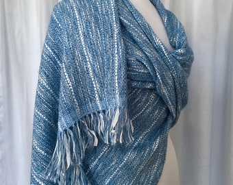 Blue Handwoven Shawl, Handwoven Stole, Light Blue Shawl, Mother's Day Gift