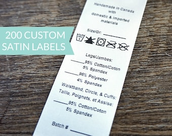 Qty 200 - White satin label with variables - custom clothing label - washing instructions - care instructions - bilingual content label