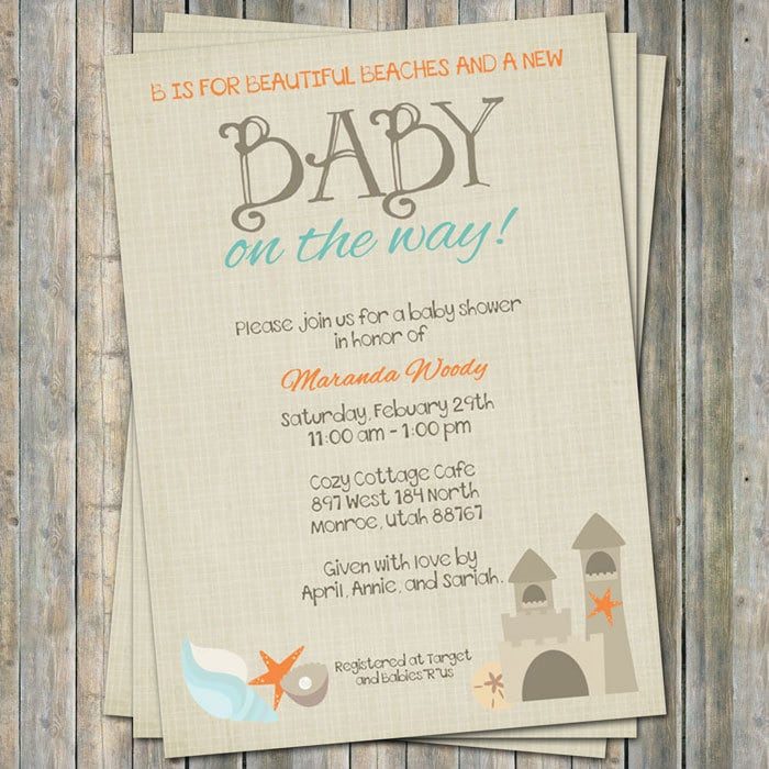 Beach Baby Shower Invitation baby shower invitation