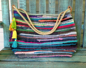 Large boho shoulder bag.