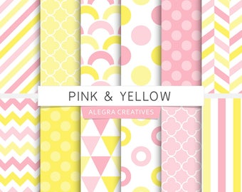 Pink & Yellow digital paper, soft pink, yellow, polka dot, chevron, stripes, geometric patterns, scrapbook papers (Instant Download)