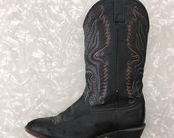 Cowboy Boots - Vintage Western Black Boot - Mens Size 9