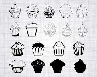 Cupcake SVG Bundle, Cupcake SVG, Cupcake Clipart, Cupcake Cut Files For Silhouette, Files for Cricut, Cupcake Vector, Dxf, Png, Eps, Decal