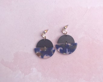Black Wood and Blue Resin Statement Earrings