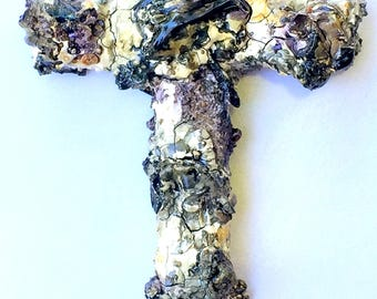 handmade wood and plaster cross, painted wall art, wall collage, purple, grey, ash
