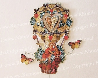 Digital Cupid Valentine INSTANT Download Printable Hanging Decoration Cherub Angel, Hot Air Balloon - 3D Ornament With Spinning Heart CS30C