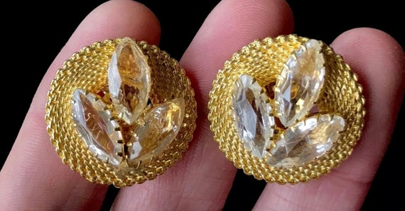 Elegant Round Goldtone Mesh with Juliana Style Rhinestones Unsigned Vintage Clip on Earrings mash up look of Hobe and D &E!