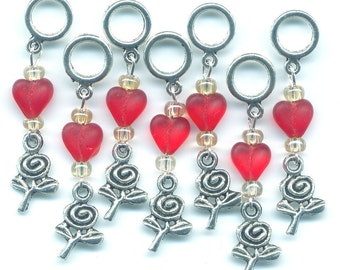 Valentine Knitting Stitch Markers PhatFiber Roses and Rust Set of 7/SM11
