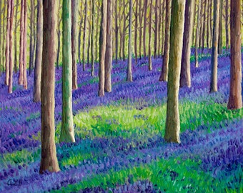 Giclee print, Bluebell Forest IV, 8 x 10 in.