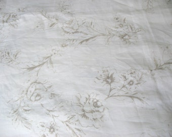 Grey and White Floral Print Linen Fabric Sold by Yard