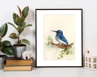 Blue Bird Original Watercolor Painting, painting of bird, bird art, painting of bird by CanotStop