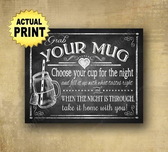 Printed Grab your Mug wedding favors sign, Wedding Mug sign, wedding mug favors, chalkboard wedding signs, barn wedding, rustic wedding sign