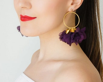 Statement Jewelry Statement Earrings Gold Hoop Earrings Floral Earrings Boho Earrings Gold Earrings Boho Jewelry / CICIRA