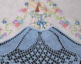 Southern Belle -Crinoline Lady pillowcases crochet embroidery pattern mo5495