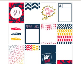 BOY STUFF 12 Digital & Printable Project Life Cards, 3x4 Journaling Pocket Cards