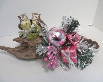 Christmas floral  driftwood with a pair of Owls ceramic figurine and silver and pink floral spray ooak