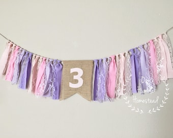 Pink and Purple High Chair Banner - Birthday Party, First Birthday, Garland, Lace, Photo Prop