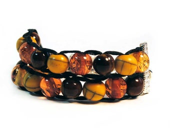 Autumn Colors with silver clasp - Ablet Knitting Abacus - Row Counting Bracelet