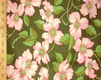 """1YD 12"""" x 44/45"""" Last Piece Tree DOGWOOD FESTIVAL Virginia State Flower Blossoms Free Spirit Pink on Green Quilting Sewing Fabric"""