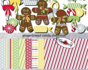 Gingerbread Candy Christmas Paper and Elements SET: Digital Scrapbook Paper Pack (300 dpi) Stripes Polka  Dots Digital Scrapbook