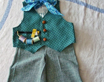 12-24M Boys Mad Hatter Costume Vest Tie & Pants  RTS Greens Turqouise Halloween Costume