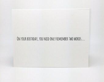 Funny Birthday Card- Turn Up