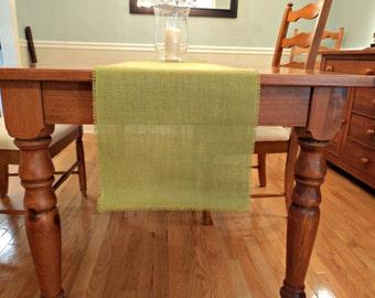 Chartreuse Burlap Table Runner Avocado Green Burlap Runner Burlap Wedding or Home Decor