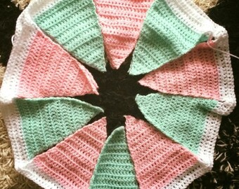 Personalised crocheted, baby name, handmade, crochet triangles, lettered, any colour bunting