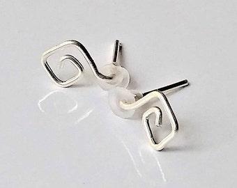 Sterling Silver Geometric Stud Earrings, Tiny Stud Earrings, Silver Spiral Earrings, Simple Stud Earrings, Minimalist Earrings.
