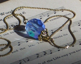 Faceted Blue Aurora Borealis Necklace with Vintage 12K gold chain