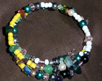 Double Wrap Memory Wire Beaded Bracelet - Multicolored- For Her - Handmade by Gracie