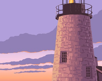 Pemaquid Lighthouse Sunset - Maine (Art Prints available in multiple sizes)