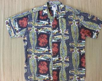 Vintage Hawaiian Shirt 80s KAHALA AVi Collection Mod Rockabilly Koi Fish Pond Aloha Shirt Mens - L - Oahu Lew's Shirt Shack