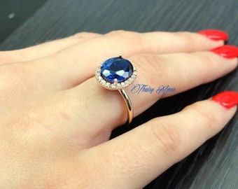 3.25 CT Oval Halo Engagement Ring Solid 14k Rose Gold Blue Sapphire Center  Lab Created Diamonds