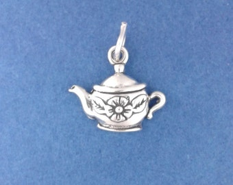 TEA POT Charm .925 Sterling Silver, Teapot with Flower, Small Pendant - lp2021