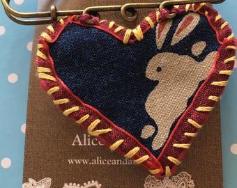 White Rabbit Textile Pin