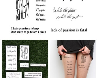 Quotes Set - Temporary Tattoo Quote (Set of 6)