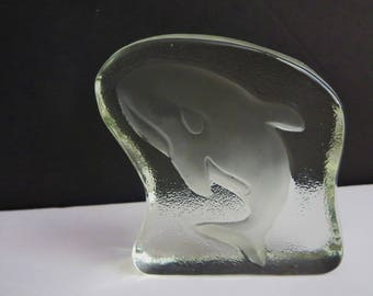 Vintage Glass Ice Block Whale Paperweight - Glass Art Sculpture With Frosted Etched Whale  - Glass Slab Paperweight - Nautical Beach Decor