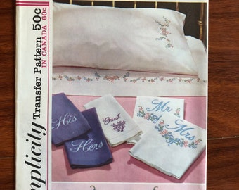 Simplicity 5211 Embroidery Transfer Vintage Mr. Mrs. His Hers