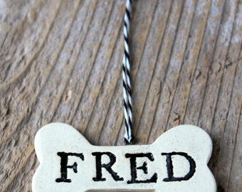 Personalized Pottery Dog Bone Ornament