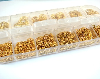 Jump Ring Assortment Gold Plated Iron Not Soldered Boxed 4mm to 10mm - F4003JR-ASG