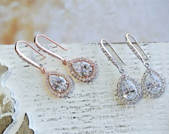 Crystal Bridal Earrings, Wedding Earrings, Bridesmaid Earrings, Wedding Jewelry, Bridesmaid Earrings, Teardrop Earrings, Rose gold Silver UK