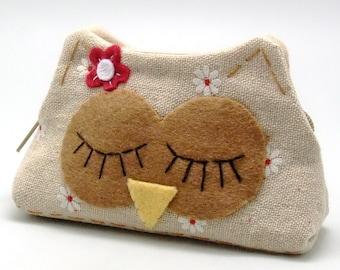 RS Sleepy owl - Zipper pouch / coin purse (padded) (ZS-117)