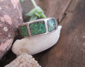 Southwestern Inlaid Turquoise Ring Vintage 1950's Men's Sterling Silver Band Genuine Semi Precious Stone Native American Jewelry