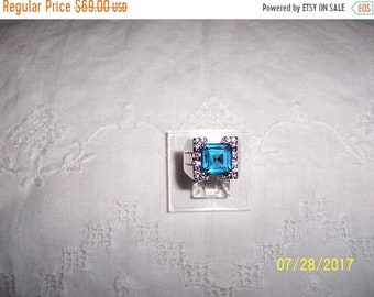 SUMMER SALE 20% OFF, Vintage Big Blue, pink and clear stones statement ring. Sterling silver.