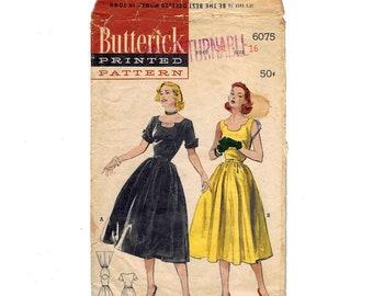 Butterick 6075 Original Vintage 1952 Dress Pattern - Bust 34