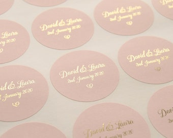 Foil Wedding Stickers, Rose Gold Wedding Stickers, Blush Favour Stickers, Wedding Labels, Custom Stickers, Personalised stickers, D4